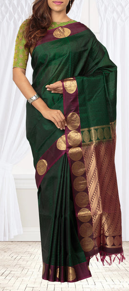 Bottle Green & Wine Lightweight Kanchipuram Silk Saree