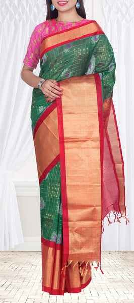 Dark Green & Maroon Silk Cotton Saree — Diwali Collection