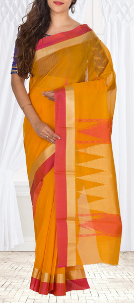 Mustard & Red Semi Silk Cotton Saree