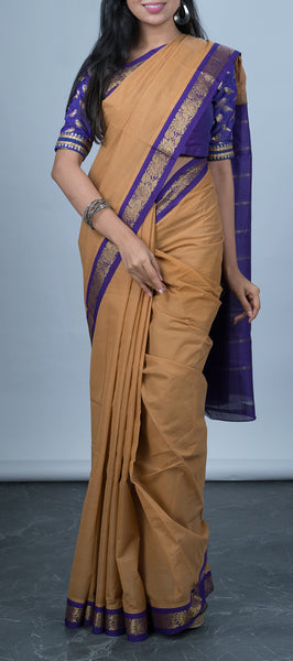 Brown Traditional Cotton Saree