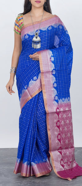 Royal blue semi silk cotton saree