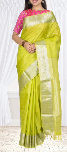 Parrot Green Lightweight Silk — Diwali Collection