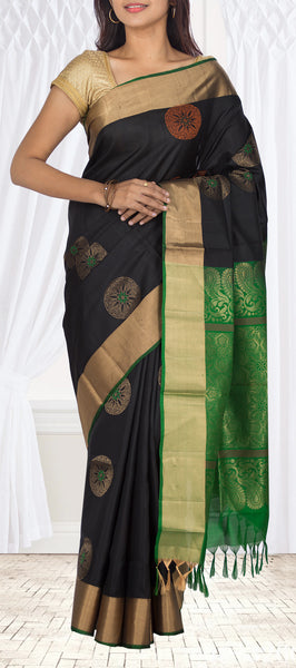 Black & Dark Green Soft Silk Saree