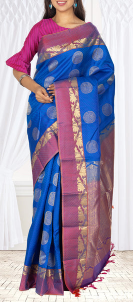 Dark Blue & Purple Lightweight Kanchipuram Silk Saree