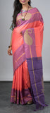 Peach Kanchipuram Silk Saree with Jute Bhuttas
