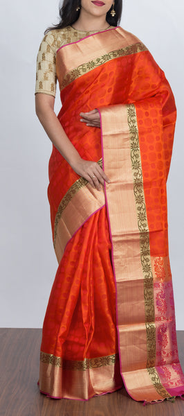 Orange Lightweight Silk Saree