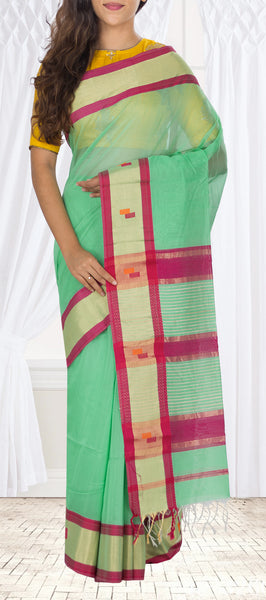 Sea Green & Dark Pink Maheshwari Cotton Saree