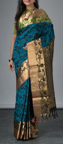 Black Soft Silk Saree with threadwork
