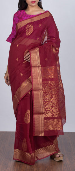 Marroon Traditional Silk Cotton Saree