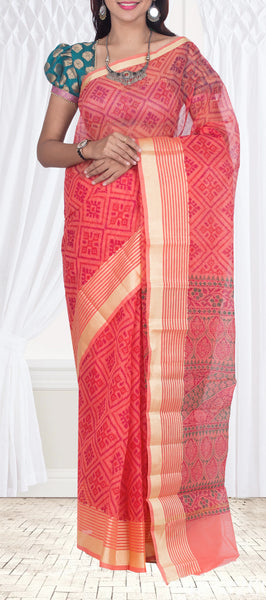 Pink Maheshwari Cotton Saree