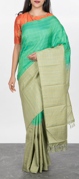 Teal Green Kanchipuram Silk Saree with Zari Checks
