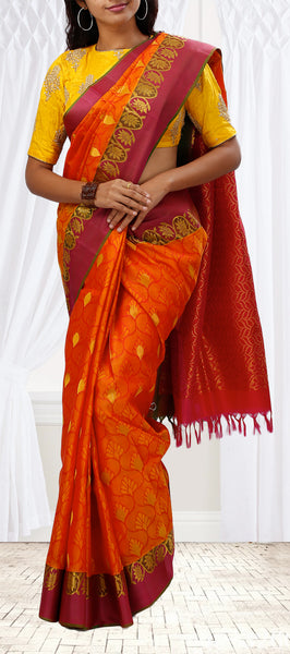 Red & Maroon Lightweight Kanchipuram Silk Saree
