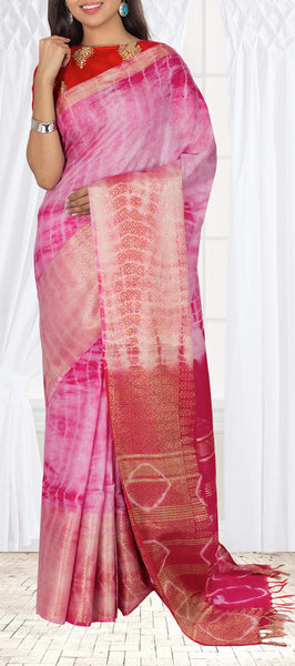 Dark Pink Linen Silk Saree