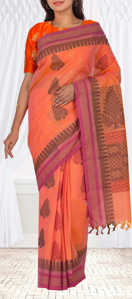 Peach Ethnic Maheshwari Cotton Saree