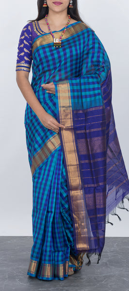 Traditional blue silk cotton saree with checks