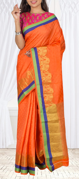 Orange Semi Tussar Saree