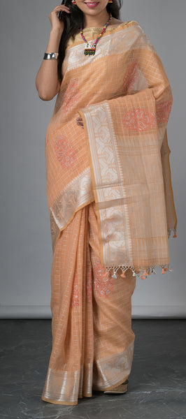 Peach Semi Linen Saree with Embroidery