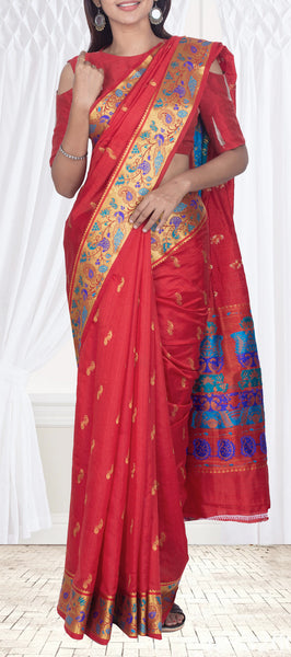 Red Semi Benarasi Casual Saree