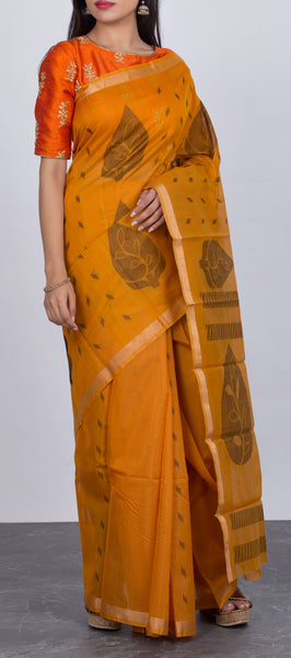 Mustard Ethnic Silk Cotton Saree