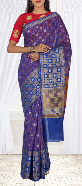 Purple, Blue & Brown Semi SIlk Cotton Casual Saree