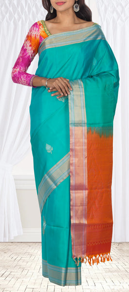 Turquoise Blue & Orange Soft Silk Saree