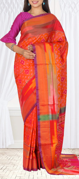 Dark Peach Semi Soft Silk Saree With Half-Fine Zari