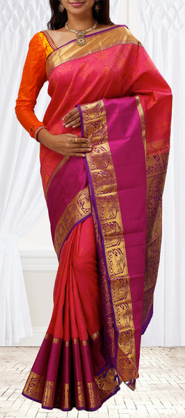 Coral Pink and Violet Lightweight Kanchipuram Silk Saree
