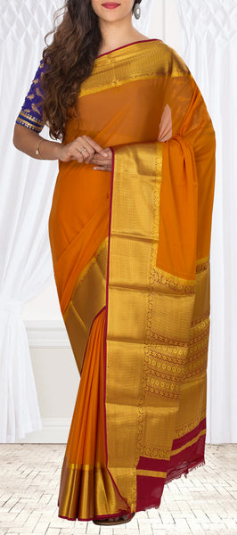 Mustard & Red Semi Chiffon Casual Saree