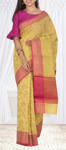 Light Mustard & Pink Semi Benarasi Casual Saree With Linen Finish