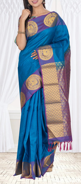 Teal Blue & Purple Lightweight Kanchipuram Pure Silk Saree