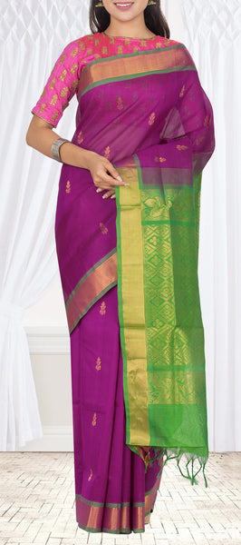 Purple & Green Silk Cotton Saree