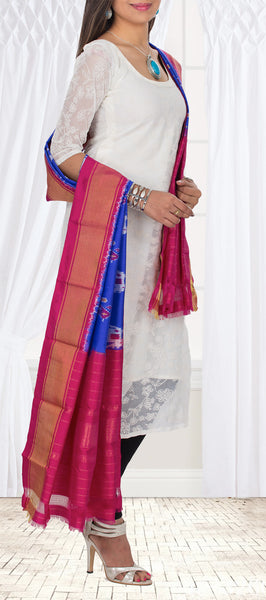 Royal Blue & Dark Pink Pochampalli Silk Dupatta