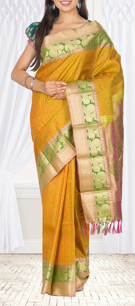 Pista Green Lightweight Kanchipuram SIlk Saree