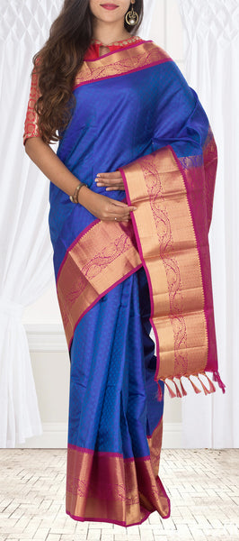 Dark Blue & Dark Pink Lightweight Kanchipuram Silk Saree