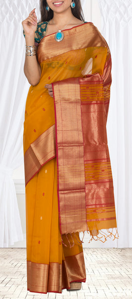 Mustard & Red Traditional Maheshwari Cotton Saree