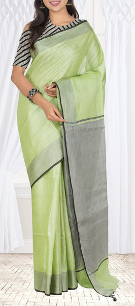 Light Green Semi Linen Saree