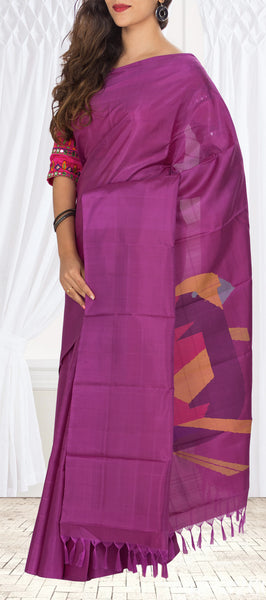 Purple Pure Kanchipuram Handloom Silk Saree With 1G Zari