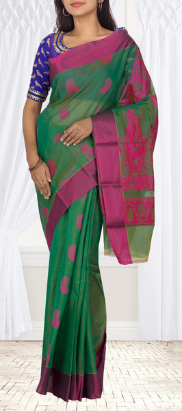 Moss Green & Magenta Semi Silk Cotton Casual Saree
