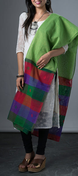 Multicolored Jute Cotton Dupatta