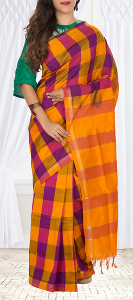 Orange, Purple & Magenta Semi Silk Cotton Saree