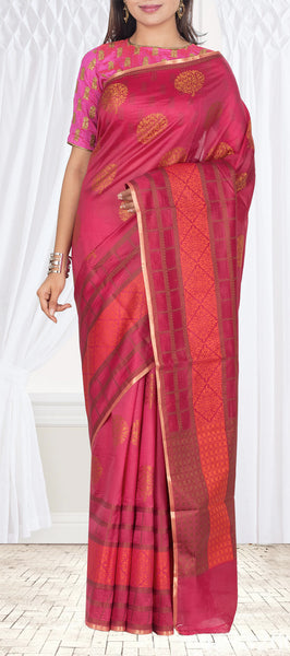 Candy Pink Pure Tussar Silk Saree