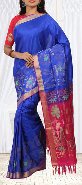 Dark Blue & Maroon Pink Soft Silk Saree