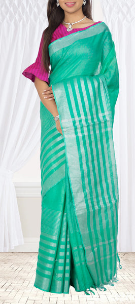 Coral Green Semi Linen Saree