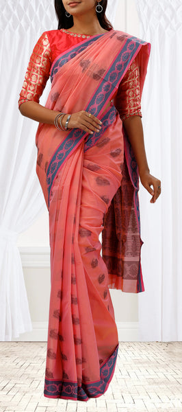 Peach & Blue Semi Silk Cotton Saree