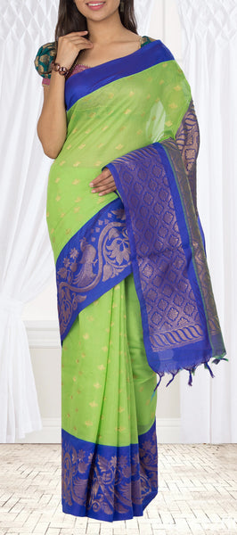 Parrot Green & Dark Blue  Semi Silk Cotton Saree