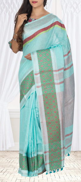 Turquoise Blue Semi Linen Casual Saree