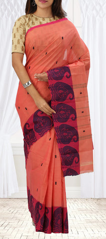 Light Pink & Dark Pink Summer Cotton Saree