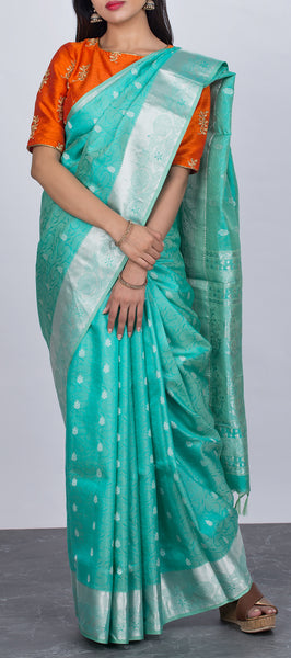 Turquoise blue Lightweight Kanchipuram Silk Saree