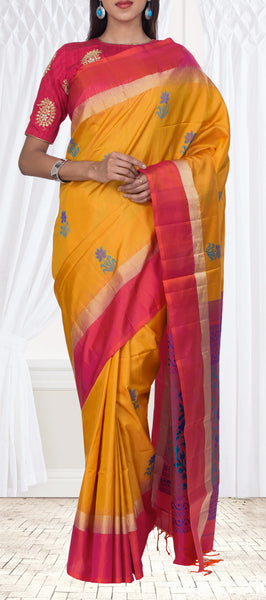 Mustard & Dark Pink Soft Silk Saree With Jute Finished Pallu