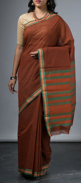 Brown and Black Cotton Saree with Checks